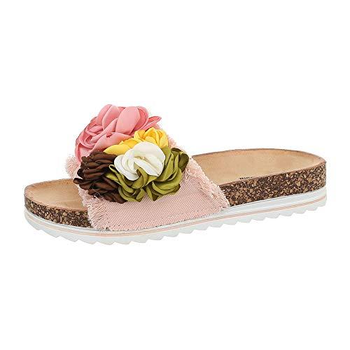 Ital-Design Damenschuhe Sandalen & Sandaletten Pantoletten Canvas Hellrosa Gr. 36 -