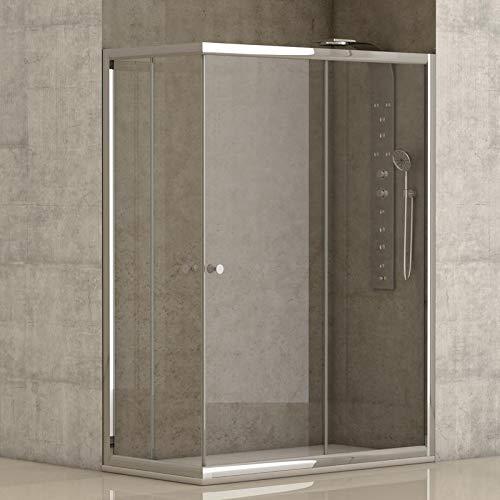 Mampara de ducha angular 2 hojas fijas + 2 hojas correderas con cristal transparente templado de seguridad de 4mm modelo Bricodomo Catalonia 70x90 (Adaptable 69-70cm a 89-90cm)
