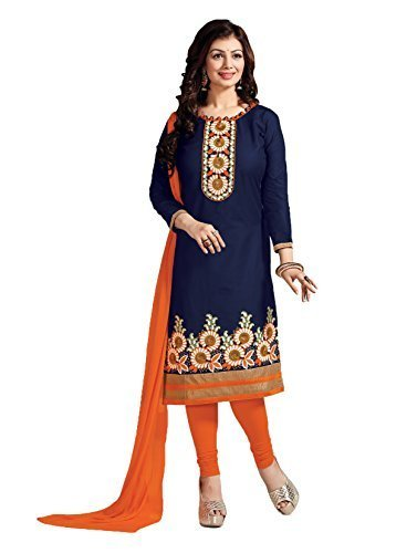 Leela Creators Women's Blue Cotton Semi-Stitched Suits Dress Materials (Free Size_Blue_126)