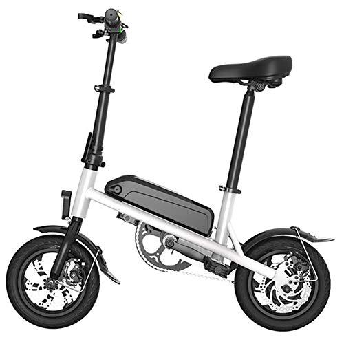 ZLI Mini Pieghevole Bicicletta Elettrica, Adulto Portatile Impermeabile Bici Elettrica Bicicletta in Alluminio in Lega Triciclo Il Forte Potere Tempo Libero Scooter 60-100Km,Bianca