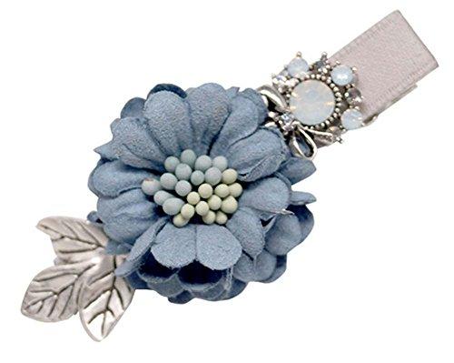 2 Pcs Douce Cheveux Ornement Fleurs Hairpinside Clip Pince à Bec épingle, Gris Bleu