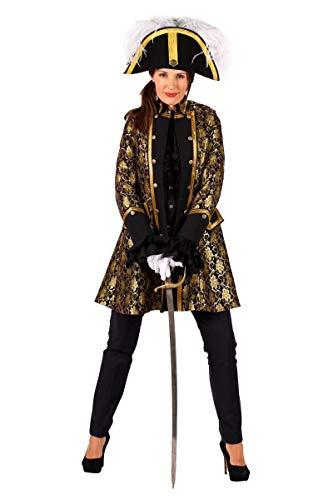 Thetru Damen Kostüm Jacke Uniform Barock schwarz-Gold Karneval Gr.XS