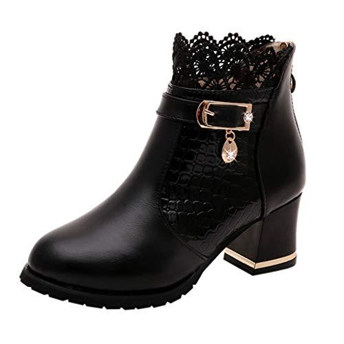 Stivaletti Donna Stivali Autunno Inverno Vintage in Pelle alla Caviglia Pizzo Stivali Corti Shoes (35 EU,Nero)