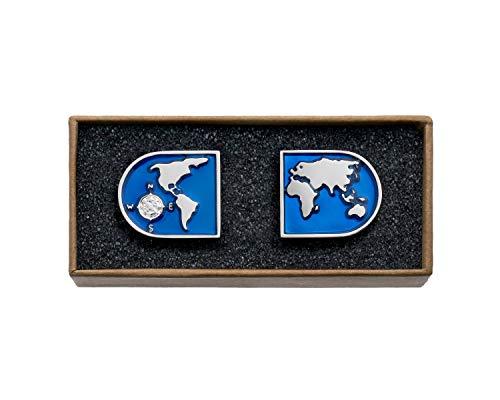 VALDERO Herren Manschettenknöpfe -'World' in Box (Halbrund, Silbernes Metall)