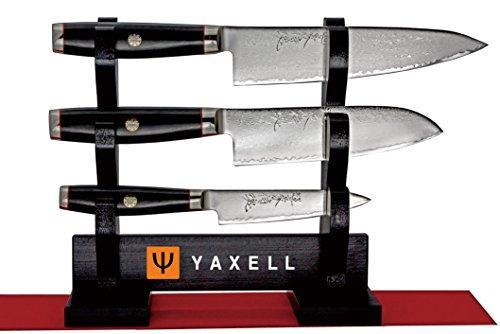 Super Gou Ypsilon Damastmesser-Set Yaxell 3 Stück Damastmesser inkl. Messerständer