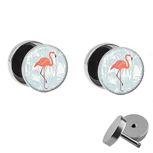 Treuheld® | Set - Rosa Flamingo mit Palme - 2 Ohrstecker zum Schrauben mit pinkem Vogel - Weisse Fake Plugs - Ø 10mm - Ohrringe Fakeplug Weiß Pink - Silber Ohrring - Chirurgenstahl Faketunnel