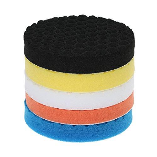 KKmoon 5PCS 7 Inch 180mm Polierschwamm Polierset Polierteller Polierpad für Poliermaschine Auto Reinigung Haushalt Möbel Waschen Sauber Machen 5 Farben Blau Orange Gelb Weiß Schwarz