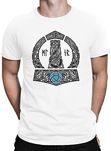 vanVerden North Herren T-Shirt Thors Hammer Mjölnir Wikinger Gott Thor Vikings, Größe:XL, Farbe:Weiß/Schwarz
