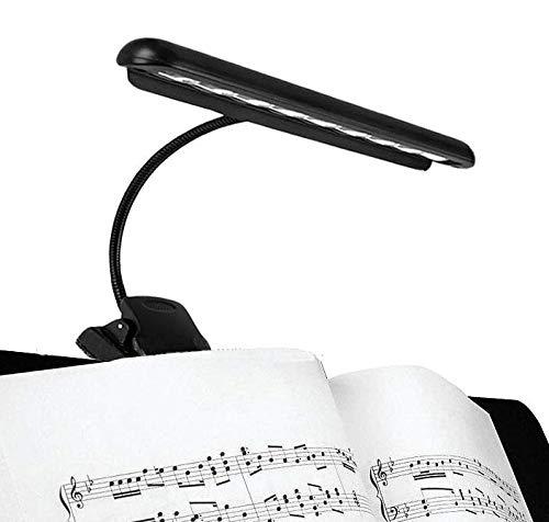 Hellion Portable Flexible 9 LEDs Orchestra Piano Music Stand Light, Clip-On Night Reading Lamp, Clips auf Schreibtisch, Laptop, Bücher, Bettkopfteil, USB oder batteriebetriebene (USB-Kabel enthalten) (Music Light Led Stand)