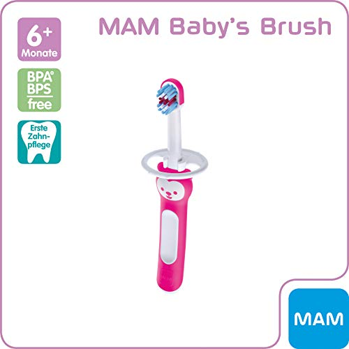 MAM Baby's Brush, Baby Zahnbürste mit kurzem Griff zum einfachen Halten, Kinderzahnbürste zur sanften Zahnreinigung, ab 6+ Monate, rosa