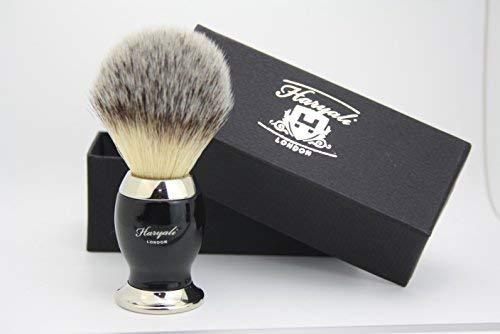 Cheveux Synthétiques Brosse de Rasage Noir & Argent Manche avec Classique Boîte Cadeau