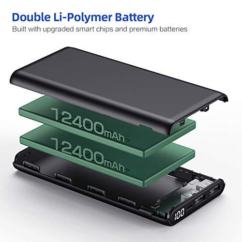 Yacikos Batería Externa para Móvil 24800mAh,  Power Bank【Nueva y Compacta con Pantalla Digital LCD】 Ultra Capacidad Cargador Portátil con 2 Puertos USB de Alta Velocidad para Smartphone,  Tableta,  etc
