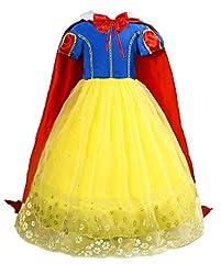 Idea Regalo - Le SSara Ragazze Principessa Neve Bianco Costume Fantasia Fata vestirsi Abito Cosplay con Mantellina (110, E57-yellow)