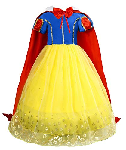 Le SSara Mädchen Prinzessin Schnee kostüm Phantasie fee Dressing up Cosplay Dress mit Cape (110, E57-yellow)