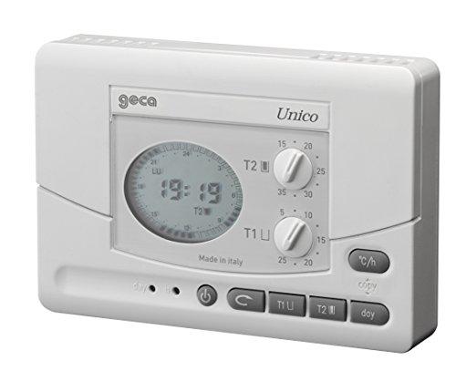 Cronotermostato da parete e semi incasso unico bianco for Geca unico termostato istruzioni