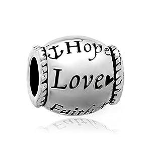 """Ovale Perlen von Uniqueen für Charm-Armbänder, """"Hope, Love, Faith"""""""