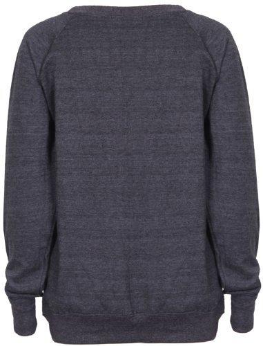 Womens Brooklyn New York Athletic 76 Varsity Print Ladies Long Raglan Sleeves Crew Neckline Sweatshirt Jumper Top Dark Grey Size 12 - 14