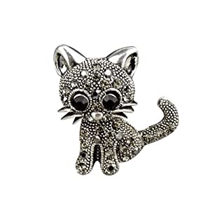 Bobury Broches de Gato Retro para Ramo de Boda Hijab Bufanda Pin Up Hebilla Broches 2