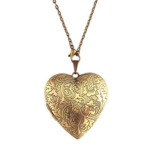 Amulett Silber Bronze Foto Bild Halskette Kette Anhänger Herz (Gold Medaillon Halskette)