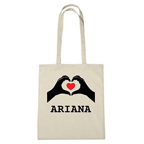 JOllify Ariana di cotone felpato B5160 schwarz: New York, London, Paris, Tokyo natur: Hände Herz
