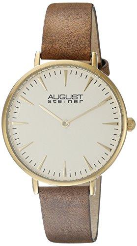 August Steiner Hommes de montre à quartz avec cadran blanc Affichage analogique et bracelet en cuir marron as8187ygbr