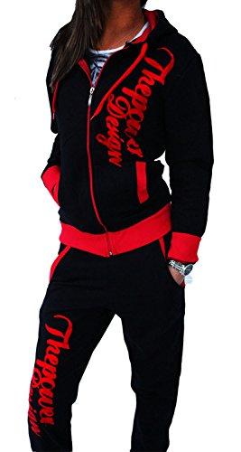 """Tuta da jogging da donna con pantaloni e felpa """"Power"""" nero/rosso"""