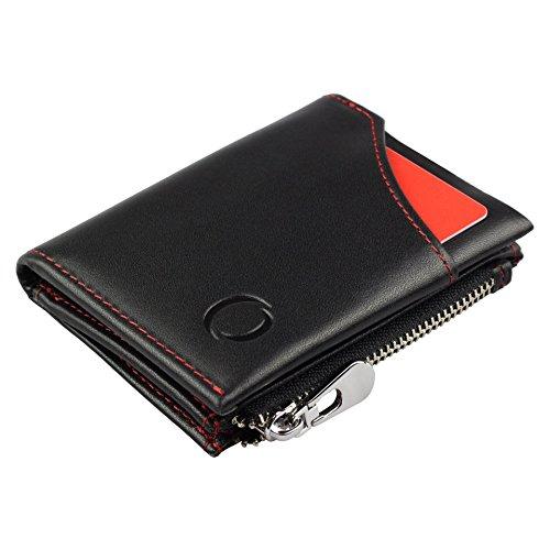 Smart Wallet mit Münzfach - Mini-Geldbörse aus echtem Leder mit RFID Schutz für Damen und Herren, Smarter Geldbeutel und Karten-Brieftasche (Wallet Mini Leder)