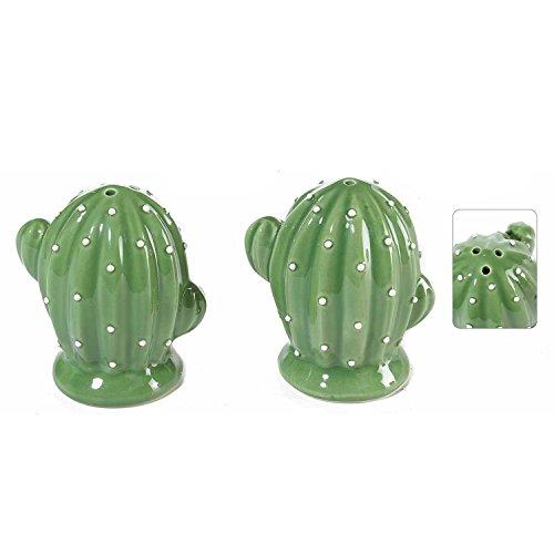 Stellen Sie dunkelgrünen Kaktus des Salzes und des Pfeffers in handgemalte Keramik für das Tischkochen und öffentliche Tätigkeiten ein. - Kaktus Salz