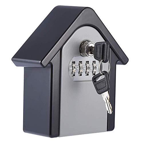 Loboo Idee Schlüssel Safe Passwort Tastensperre Outdoor Sicherheitsschlüssel Aufbewahrungsbox Kreative Haus Form Sicherheit Wand Zahlenschloss Box (150x130x95mm, Grau)