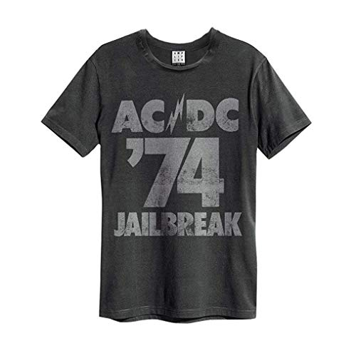 Amplified - Herren T-Shirt AC/DC Tour 74 Jailbreak Logo Vintage Grau (S-L) (S)