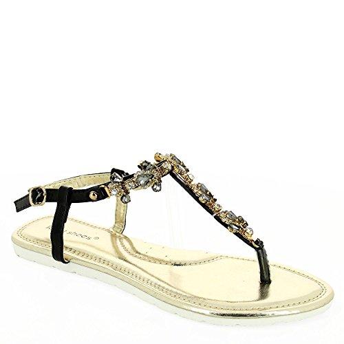 Ideal-Shoes Sandali piatti incrustées di strass e pietre Mabela a specchio Nero (nero)