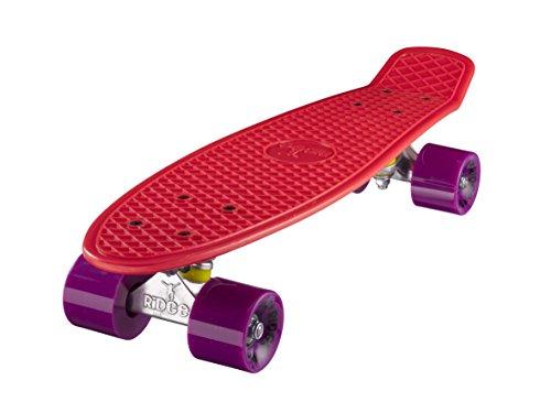 ridge-mini-cruiser-skate-skateboard-retro-22-completo-nel-rosso-cuscinetti-abec-7-rosso-viola