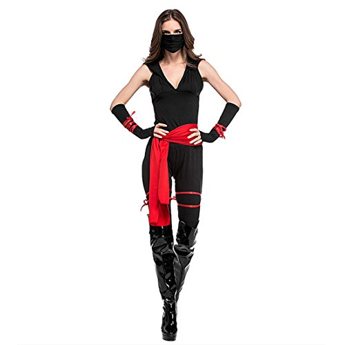 stüm mit Maske Bühnenkostüme für Fasching Halloween Karneval Cosplay M (Erwachsene Schwarze Ninja Kostüme)