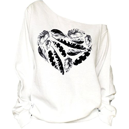 Frauen-Damen Anker weg von der Schulter Maxi-Slouchy Sweatshirt Pullover Tops Blusen (Feather), Farbe weiss, Size M (Spitze Damen-pullover)