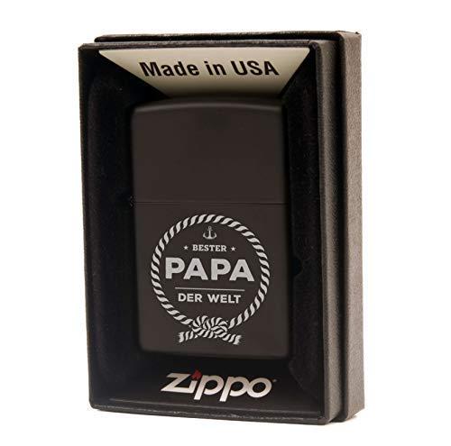 Zippo Sturmfeuerzeug mit Gravur - Geschenke für Papa/Bester Papa der Welt/Feuerzeug mit Gravur/Geschenkidee zum Vatertag - Chrome Brushed (schwarz)
