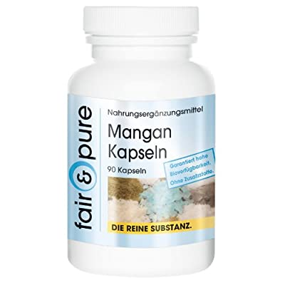 Manganese 4mg Manganese Gluconate - In Pure Organic Form - Easy to Resorb - No Additives or Excipients - 90 Vegetarian Capsules by fair & pure
