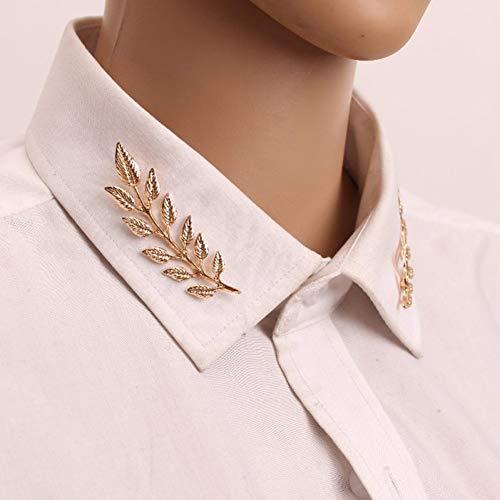 MYHMG Brosche Vintage Wheat Leaf Branch Gold Silver Plated Neck Tip Brooch Collar Pin (Clip Tie Vogel)