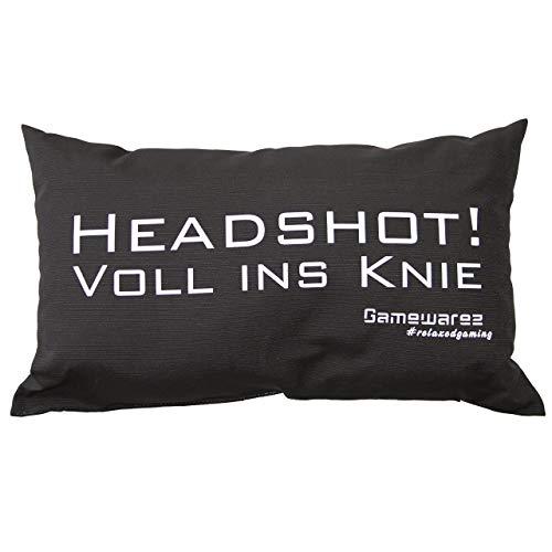"""GAMEWAREZ Kissen \""""Headshot! Voll ins Knie\"""" für Wohn- und Schlafzimmer, Reisekissen, Made in Germany. Grau meliert mit angesagtem Gaming-Spruch"""