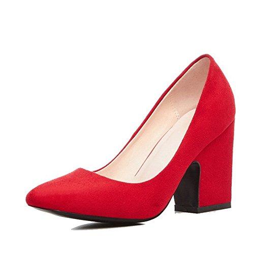 AgooLar Femme Couleur Unie Dépolissement à Talon Haut Carré Tire Chaussures Légeres Rouge