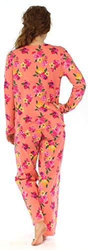 Sleepyheads Ensemble de pyjama femme à manches longues à boutons coton vêtement de nuit Corail Floral