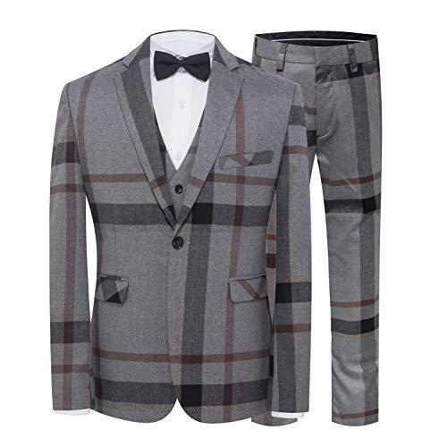 ige Anzüge Blau One Button Slim Fit Business Formale Blazer Hosen und Weste ()