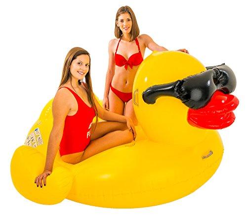 Didak Pool XXL Schwimmtier Ente 206 x 193 x 112 cm - Schwimmreittier für Pool Urlaub Strand Meer