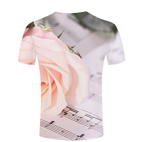 ouzhouxijia Mens 3D Printed T-Shirts Beautiful Rose and Sheet Music Graphics Couple Tees B