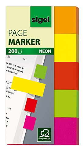SIGEL HN650 Haftmarker Neon, 5 Farben, 200 Streifen im Format 20 x 50 mm