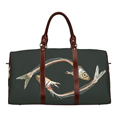 Reisetasche Sardine Fischskelett Form der Fische wasserdichte Weekender-Tasche Über Nacht Tragetasche Damen-Einkaufstasche Mit Mikrofaser-Leder-Gepäcktasche
