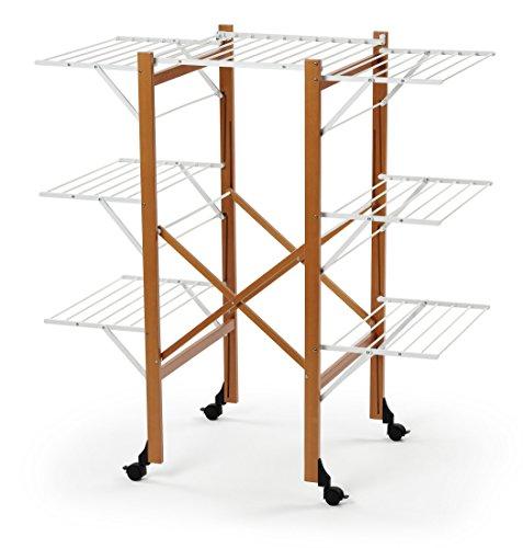 ARREDAMENTI ITALIA Wäscheständer AQUILONE, Holz - Zusammenklappbar - Ausziehbar - 35 mt Leine - Farbe: Kirsche Holz AR-It il Cuore...