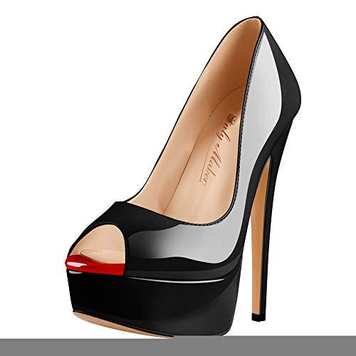 Onlymaker Damenschuhe High Heels Peep Toe Lack Pumps Lackleder Schwarz EU41