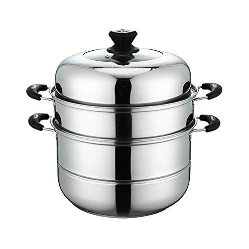 LWH Edelstahl 3-Tier Food Steamer Pan/Suppentopf, Stay Cool Griffe, 30cm Dampftopf zum Kochen