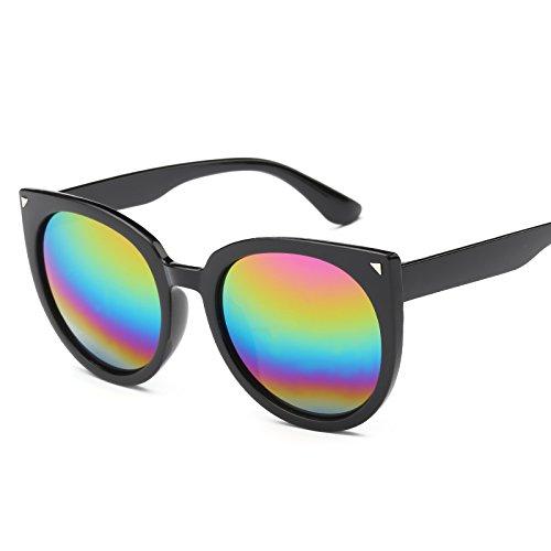 Sunyan Sonnenbrille Frau tide Star und Cat's Eye Sonnenbrille neue Koreanische rundes Gesicht Persönlichkeit Gläser, schwarzen Rahmen fünf Farbe film