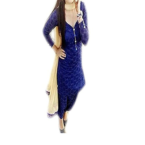 vaankosh fashion Women\'s Blue Rassel Net PartyWear Designer SalwarSuits Dress Materials